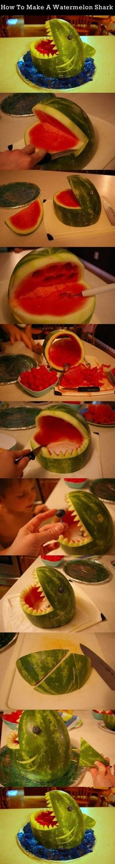 How To Make A Watermelon Shark summer food fruit diy how to tutorial party ideas party food party favors food art tutorials summer ideas food carving Ocean Party, Water Party, Shark Party, Beach Party, Party Summer, Summer Food, Summer Ideas, Summer Beach, Watermelon Shark Carving