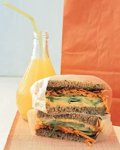 Hummus Vegetable Sandwich...mmm, I love veggie sandwiches on Ezekiel bread  {Martha Stewart}