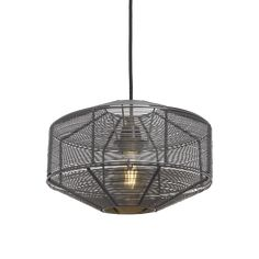 Industville - Handcrafted Wire Cage Pendant - 11 Inch - Round - Ceiling Light - Light Shade - Black Colour - Pewter / Brass Material - 24 CM X 28 CM X 28 CM Industrial Ceiling Lights, Industrial Style Lighting, Retro Lighting, Lighting Ideas, Wire Pendant Light, Round Pendant Light, Pendant Lighting, Round Ceiling Light, Ceiling Rose