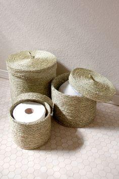 Set of 3 Handwoven Lidded Storage Baskets, Natural