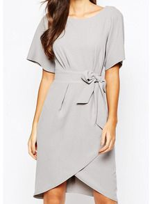 Grey Round Neck Knotted Waist Dress