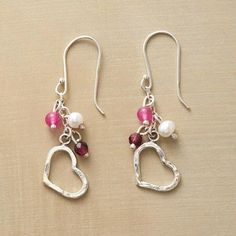 LOVING HEARTS EARRINGS - Romantically rosy gems of garnet and tinted jade and cultured freshwater pearls infuse hand cast hearts with extra special love.