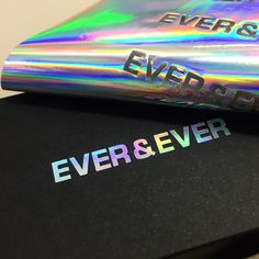 Holographic foil printing / debossing Business cards / custom boxes Printed for Ever & Ever Agency B Embossed Business Cards, Foil Business Cards, Fashion Business Cards, Letterpress Business Cards, Black Business Card, Custom Business Cards, Holographic Print, Holographic Foil, Web Design