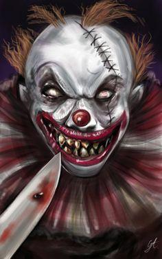 Creepy Clown  by GinaAmyart