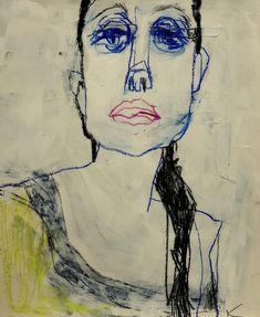 Barbara Kroll Abstract Portrait, Portrait Art, Abstract Faces, Abstract Art, Figure Painting, Figure Drawing, Painting & Drawing, Newspaper Art, Mexico Art
