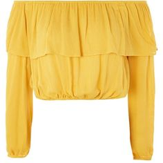 Frill Bardot Blouse by Glamorous (220 SEK) ❤ liked on Polyvore featuring tops, blouses, mustard, rayon blouse, ruffle top, flounce blouse, ruffle blouse and yellow blouse