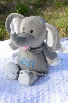 Embroidered Stuffed Elephant - Personalized Stuffed Amimal - Great Baby Shower or Birthday Gift