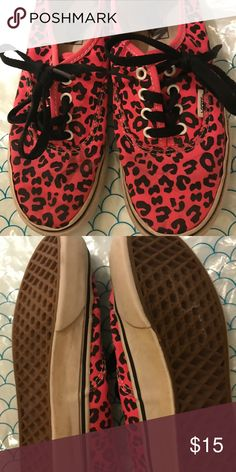 Leopard and hot pink Vans.  GUC. Sz 2.5 kids GUC, lots of life left. Vans size 2.5 kids. Hot pink leopard. Vans Shoes Sneakers