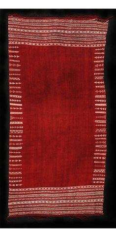 Africa | Berber woman's shawl ~ baknough ~ from Chenini in the Tunisian desert | Wool; cochineal-colored field with intricate woven cream and black cotton designs
