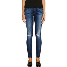 7 for All Mankind Mid-Rise Skinny Jean ($109) ❤ liked on Polyvore featuring jeans, blue, faded blue jeans, ripped blue jeans, torn skinny jeans, distressed jeans i mid rise skinny jeans