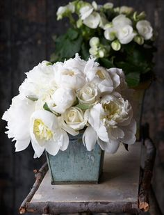 White Peonies and white roses