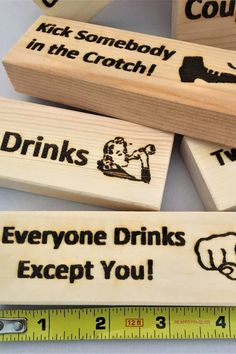 Custom - Personalized Wood Jenga like Drinking Game. This adult favorite Jenga drinking game consists of 54 large wood blocks with laser engraved fun phrases that can be customized just for you.  The best gift for game lovers. #drinkinggames #drinkingjenga