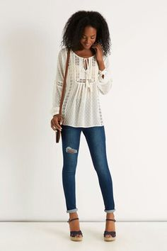 Oasis brings the latest high street fashion online from dresses to boots, jeans to accessories. Shop the latest styles in womens fashion today. Womens Going Out Tops, Casual Tops For Women, Fashion Today, Fashion Online, Dark Blue Skinny Jeans, Peasant Blouse, Street Style, Clothes For Women, Yummy Mummy