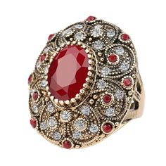 Vintage ancient patterned rustic gold plated style women's oval ruby gift ring! #Band