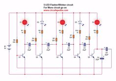 5 LED Blinking Chaser Flasher Running Circuit using Transistor Arduino Mini Projects, Electronics Mini Projects, Medical Technology, Energy Technology, Electrical Circuit Diagram, Nanotechnology, Transportation Design, Travel Quotes, Tattoo Quotes