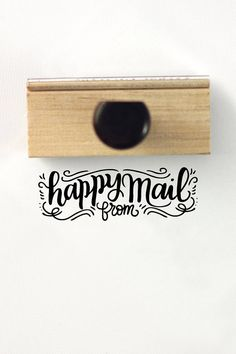 Happy mail from - Hand Lettered stamp -  3 x 1 stamp