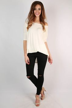 Distressed jeans are perfect for a rocker chic look!