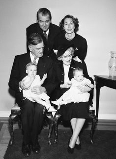 Jimmy Stewart with parents, wife and daughters, 1951