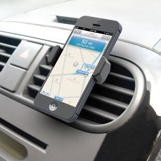 "This is the portable phone mount that clips easily into a car's air vent, keeping the road warrior's smartphone close at hand. This clever grip enables hands-free talking by keeping the phone closer to the face than suction-cup windshield mounts or console holders. And with the phone in easy reach, there's no fumbling to answer calls and map directions are only a quick glance away, allowing the driver to stay safely focused on the road. The mount's expandable grip extends to 3"" wide to hold…"