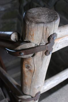 Iron strapped rustic railings