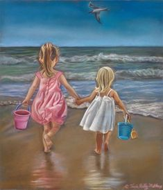 Trademark Global Tricia Reilly-Matthews 'Hold My Hand' Canvas Art - 35 Hold My Hand, Beach Scenes, Beach Art, Art For Kids, Watercolor Paintings, Art Drawings, Fine Art Prints, Canvas Art, Sketches