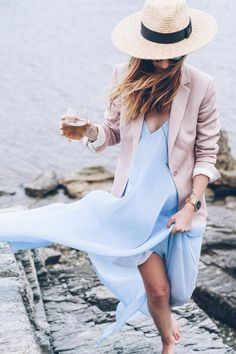 Classic blazer, sundress, straw hat, chic beach outfits, fashion over 40, slip dress with blazer, summer outfit ideas, what to wear on vacation, india hicks style, harbor island