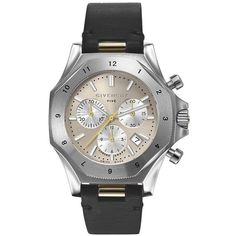 Givenchy Five Stainless Steel Chronograph Watch (54,970 PHP) ❤ liked on Polyvore featuring jewelry, watches, bracelets, givenchy jewelry, stainless steel jewelry, chronograph watch, leather-strap watches and stainless steel wrist watch