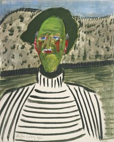 Milton Avery - (American, 1885-1965), Artist in Striped Shirt, 1962, Oil on Canvasboard, 20 x 16 in.