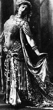 "Mata Hari, self made ""exotic"" dancer of the early 20th century, accused and executed for espionage"