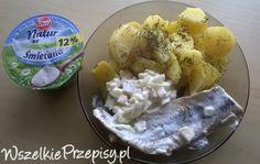 Ziemniaki ze śledzikiem w śmietanie Zott Natur z jablkiem i cebula.
