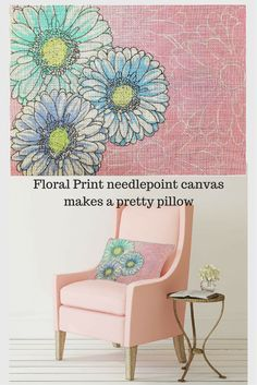 Pretty white daisies are hand painted on a pink background so you can needlepoint a lovely summer floral print pillow.