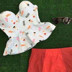 ICE CREAM PEPLUM Top $55.50 RED/BURGUNDY Bombshell Bottoms $32.50 #swimwear #swim #swimtop #swimbottom #retroswimwear
