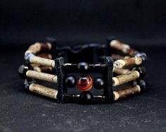 Bracelet Amérindien agate feu et obsidienne