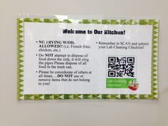 Techie Tuesday:  QR Codes - Food lab clean up duties/reminders for students