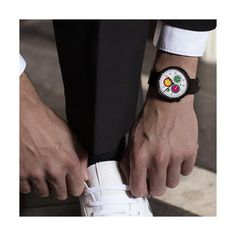 A modern British-designed men's chronograph watch inspired by the vibrancy of Tokyo. A brushed black case holds contemporary multicolour subdials. Latest Watches, Watches For Men, Black Watches, Leather Watches, Men's Watches, Black Italians, New Launch, Red Green Yellow, British Style