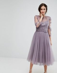 Little Mistress Embroidered Lace Midi Dress with Tulle Skirt