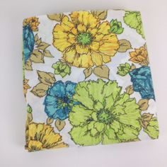 VTG Bed Sheet Flower Power 60s Retro Fabric Full Flat Penn Prest CUTTER Fabric #PennPrest