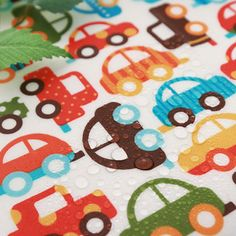 Laminated Cotton Fabric Colorful Cars By The Yard