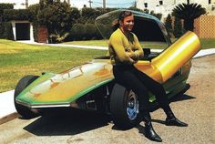 """Captain Kirk and """"The Reactor"""", 1967 William Shatner poses here with now legendary car customizer, Gene Winfield's creation, """"The Reactor"""". The car was built in the early Gene toured with it, showing it in car shows throughout the country. Star Wars, Star Trek Tos, Hot Rods, Gene Winfield, James T Kirk, Star Trek Episodes, Star Trek Original, William Shatner, Star Trek"""