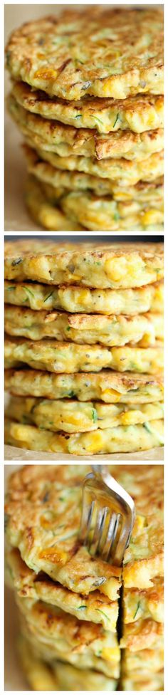 "Zucchini Corn Pancakes - Super easy pancakes perfect as a side dish or appetizer. And best of all, they don't even taste ""healthy""! Thanks to Damn Delicious Side Dish Recipes, Vegetable Recipes, Vegetarian Recipes, Cooking Recipes, Healthy Recipes, Think Food, Food For Thought, Corn Pancakes, Zucchini Pancakes"