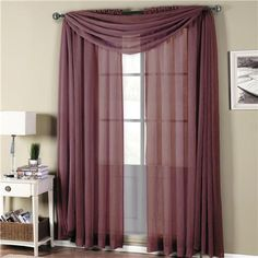 Abri Eggplant Rod Pocket Crushed Sheer Curtain Panel for $6.99 on Sell.com