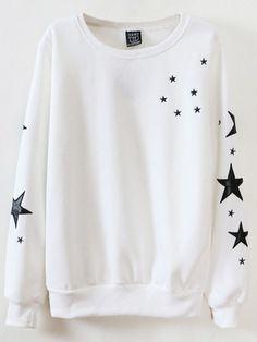 Mulheres manga comprida Estrelas impresso camisola de algodão Casual