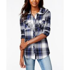 Polly & Esther Juniors' Button-Front Woven-Back Flannel Hoodie Shirt ($17) ❤ liked on Polyvore featuring tops, tartan shirt, button front shirt, flannel tops, print shirts and hooded plaid shirt