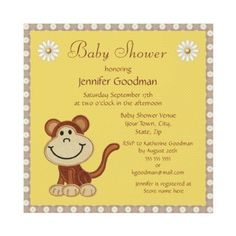Cute happy little monkey and daisies yellow, taupe and white Baby Shower invites. $1.90. Easy to personalize. Invitations are illustrated on both sides.
