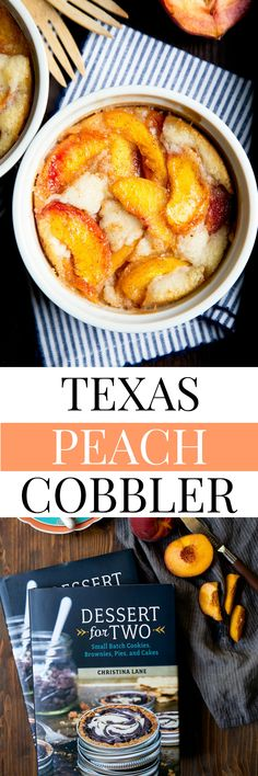 Best Peach Cobbler recipe. Texas style Southern peach cobbler, made with a thin pancake-like batter. You have to try it! Small batch dessert serves two. @dessertfortwo