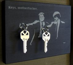 "Key Holder SAMUEL L JACKSON John Travolta. Pulp Fiction Key Holder and Wood Mounted Wall Art. ""5.5 x 8"". ""Keys Motherf*cker"""