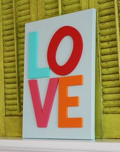 LOVE canvas with chipboard letters #DIY canvas art