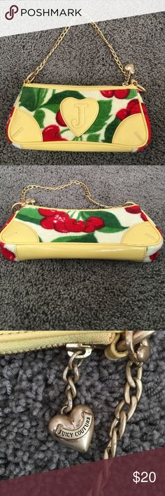 Juicy Couture Cherry Print Bag The CUTEST Juicy Couture handbag perfect for the aspiring fashionista. Mini over the shoulder bag in a great cherry print with patent leather yellow detailing and gold hardware. Authentic Juicy bag in great condition! Hardware hardly tarnished. Juicy Couture Bags Mini Bags