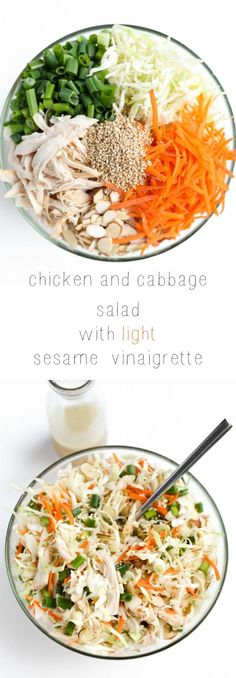 Chicken and Cabbage Salad with Light Sesame Vinaigrette. OMG, you guys, the best salad EVER and just 15 minutes start to finish.