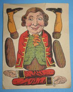 uralter Hampelmann Papier zum Ausschneiden und Aufkleben auf Holz mit Werbung